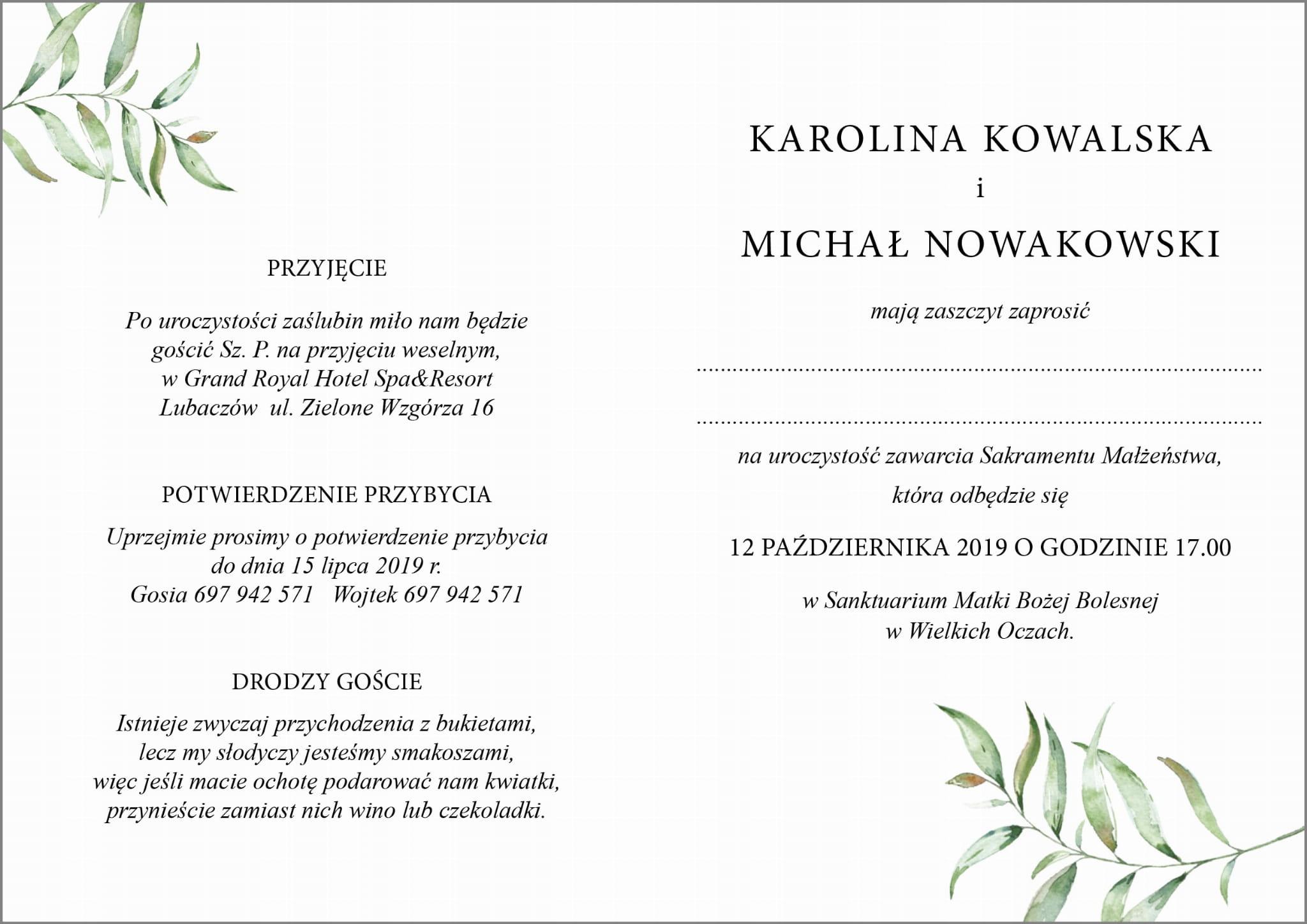 Zaproszenia Botaniczne Koperta Z Nadrukiem Z41k Naszapracowniapl