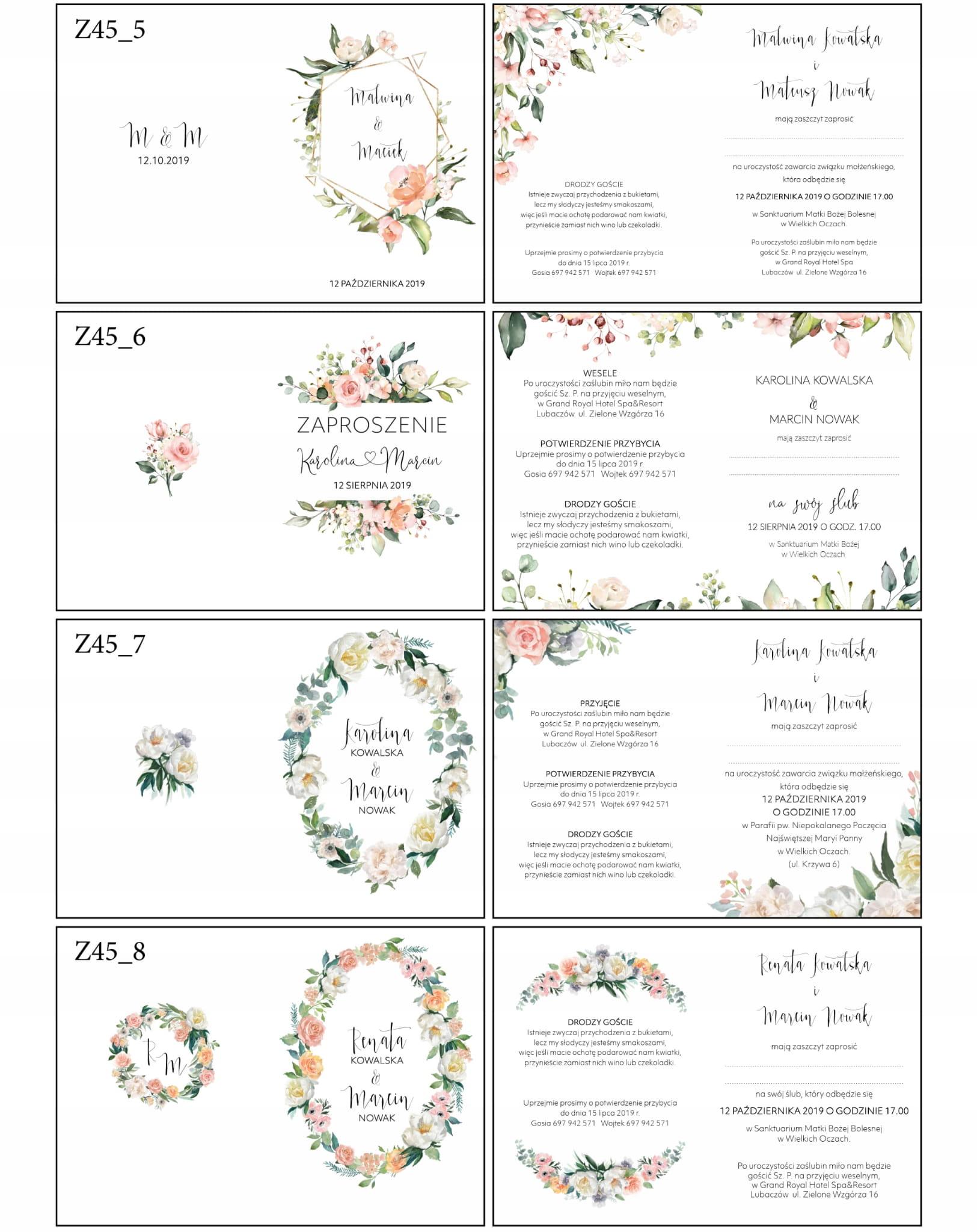 Zaproszenia ślubne Białe Kwiaty Boho Z45 Express Naszapracowniapl