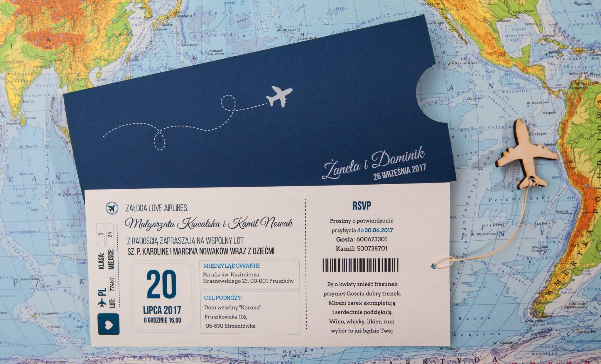 Zaproszenia ślubne Bilet Lotniczy Biały Druk Z32 Naszapracowniapl