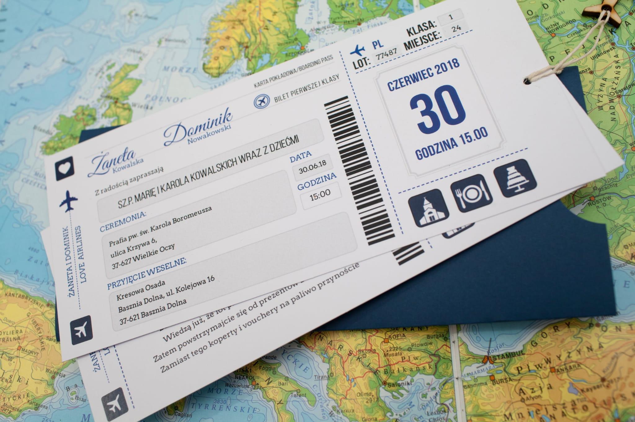 Samolot Zaproszenie ślub Bilet Lotniczy Etui Z31 Naszapracowniapl