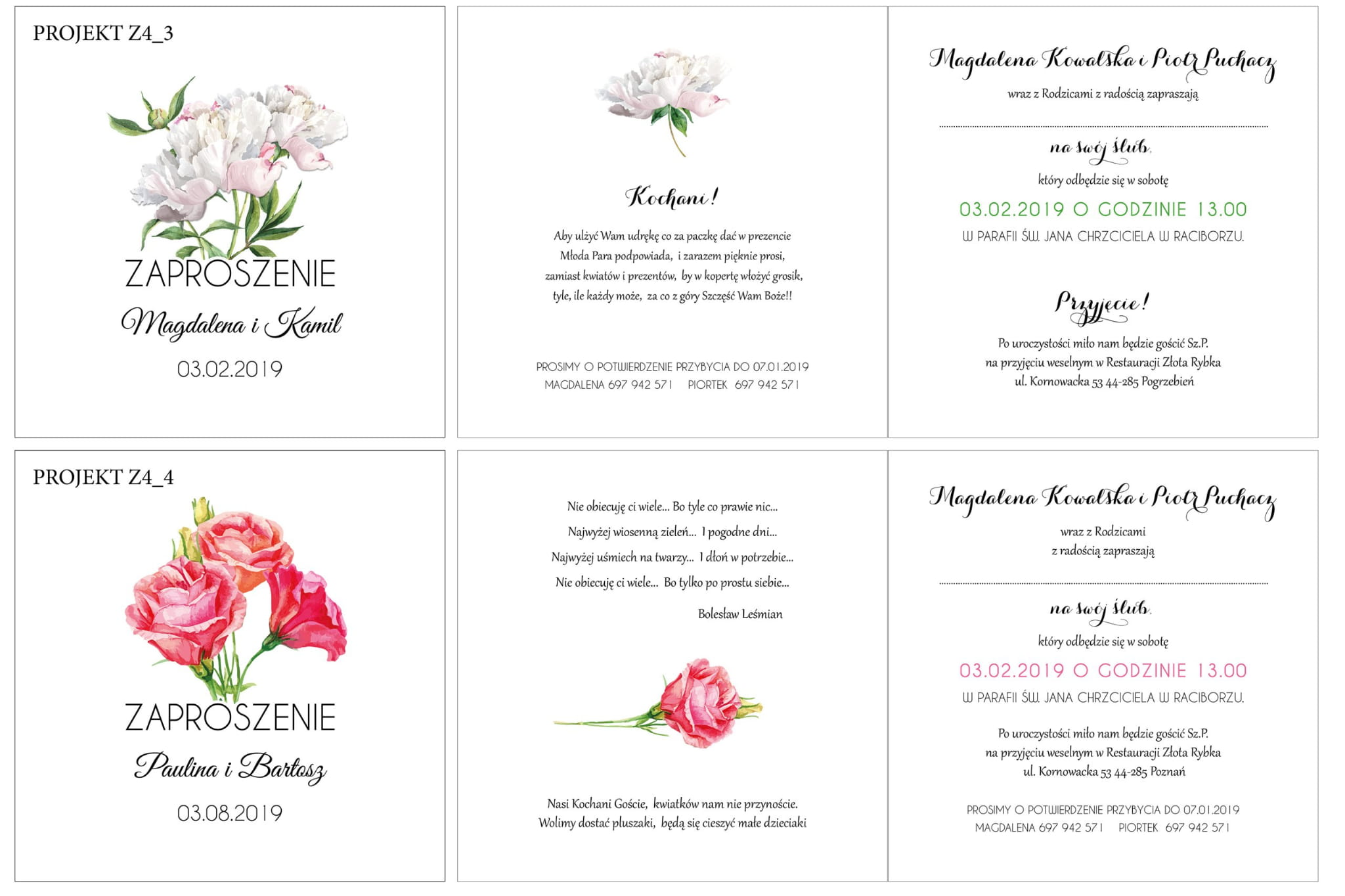 Zaproszenia ślubne Kwiatowe Eustoma Otwierane Z4 Naszapracowniapl