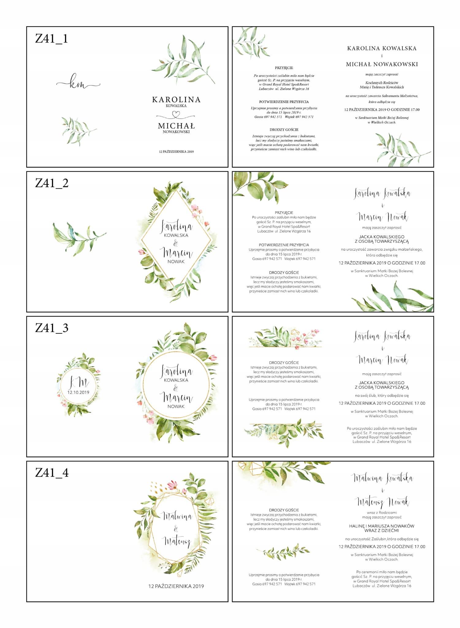 Zaproszenia ślubne Botaniczne Personalizacja Z41p Naszapracowniapl